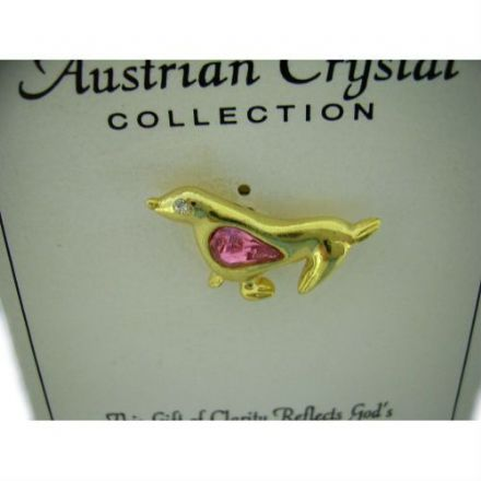 Austrian Pink Crystal Pin Badge